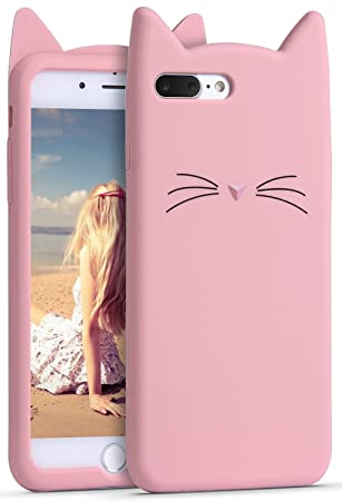 new arrival d6c86 509cc iPhone 8 Plus Case, iPhone 7 Plus Silicone Case, Imikoko Slim-Fit  Anti-Scratch Shock Proof Soft Silicone Case With Cute Cat Pattern for Apple  iPhone 7 ...