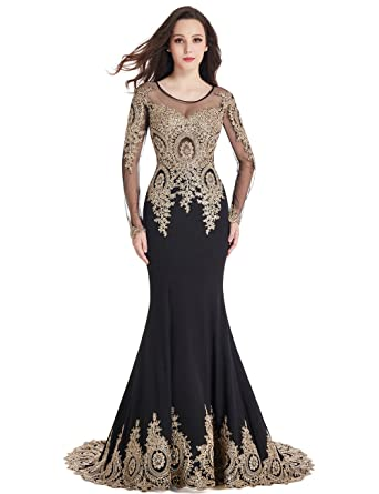 Long Sleeve Mermaid Evening Dress with Gold Lace Applique Crystals Maxi Prom  Gowns for Women Black a7643feee4c4