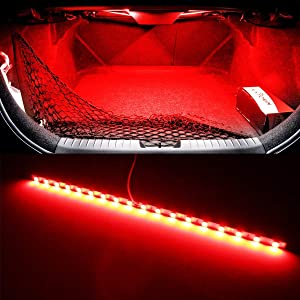 iJDMTOY (1) 18-SMD-5050 LED Strip Light For Car Trunk Cargo Area or Interior Illumination, Brilliant Red