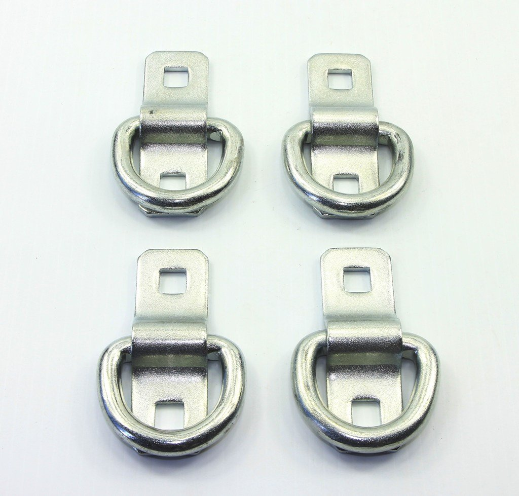 WorldPac (Pack of 4) Heavy Duty 3/8'' 5,000lbs Anchor Point Surface Mount Tie Down D Ring