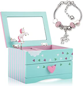 Unicorn Jewelry Box For Girls - Two Unicorn Gifts for Girls including Green and Pink Unicorn Music Box and Unicorn Charm Bracelet
