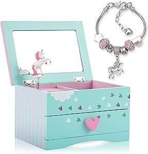 Amitié Lane Unicorn Jewellery Box For Girls - Two Unicorn Gifts for Girls including Green and Pink Unicorn Music Box and Unicorn Charm Bracelet