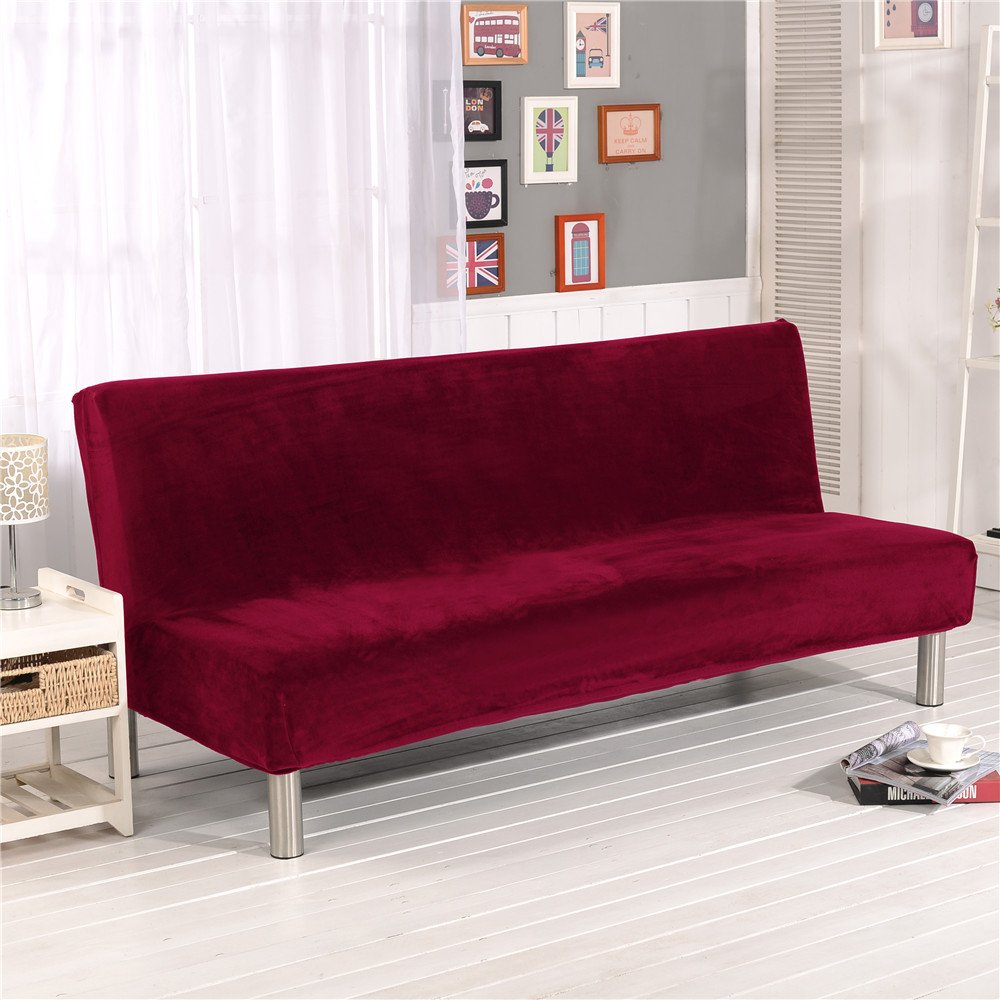 19V78 Luxury Soft Furniture Stretch Fabric Plush Sofa Cover No Armrest Burgundy Sofa Slipcovers Couch Chair Cover Solid Color