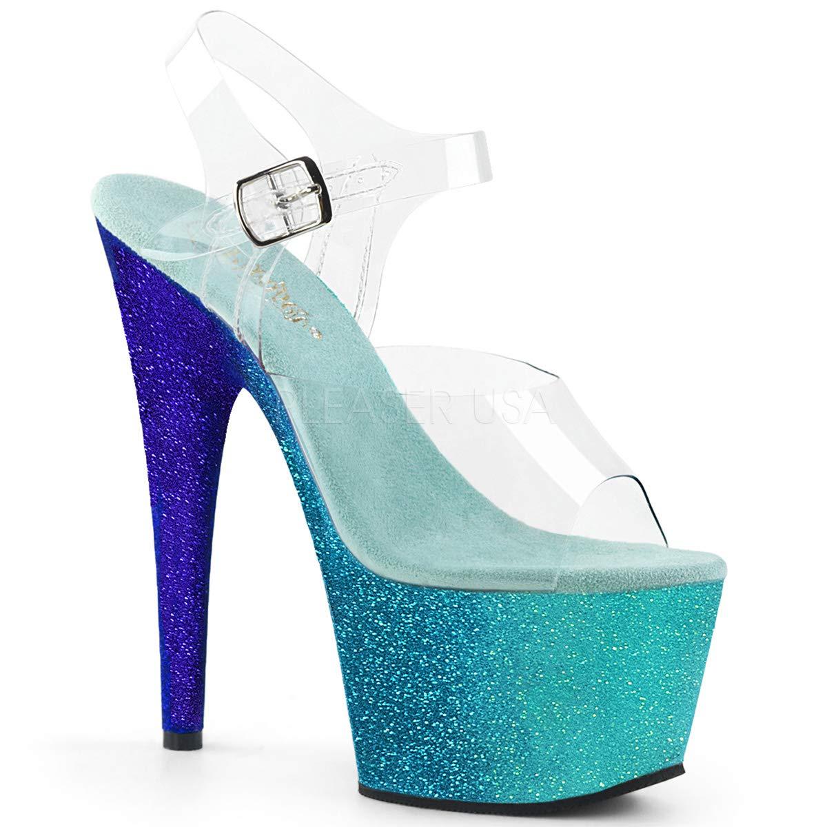 Women's Adore Clear Open Toe Top Sparkling Aqua Ombre Platform Sandals - DeluxeAdultCostumes.com