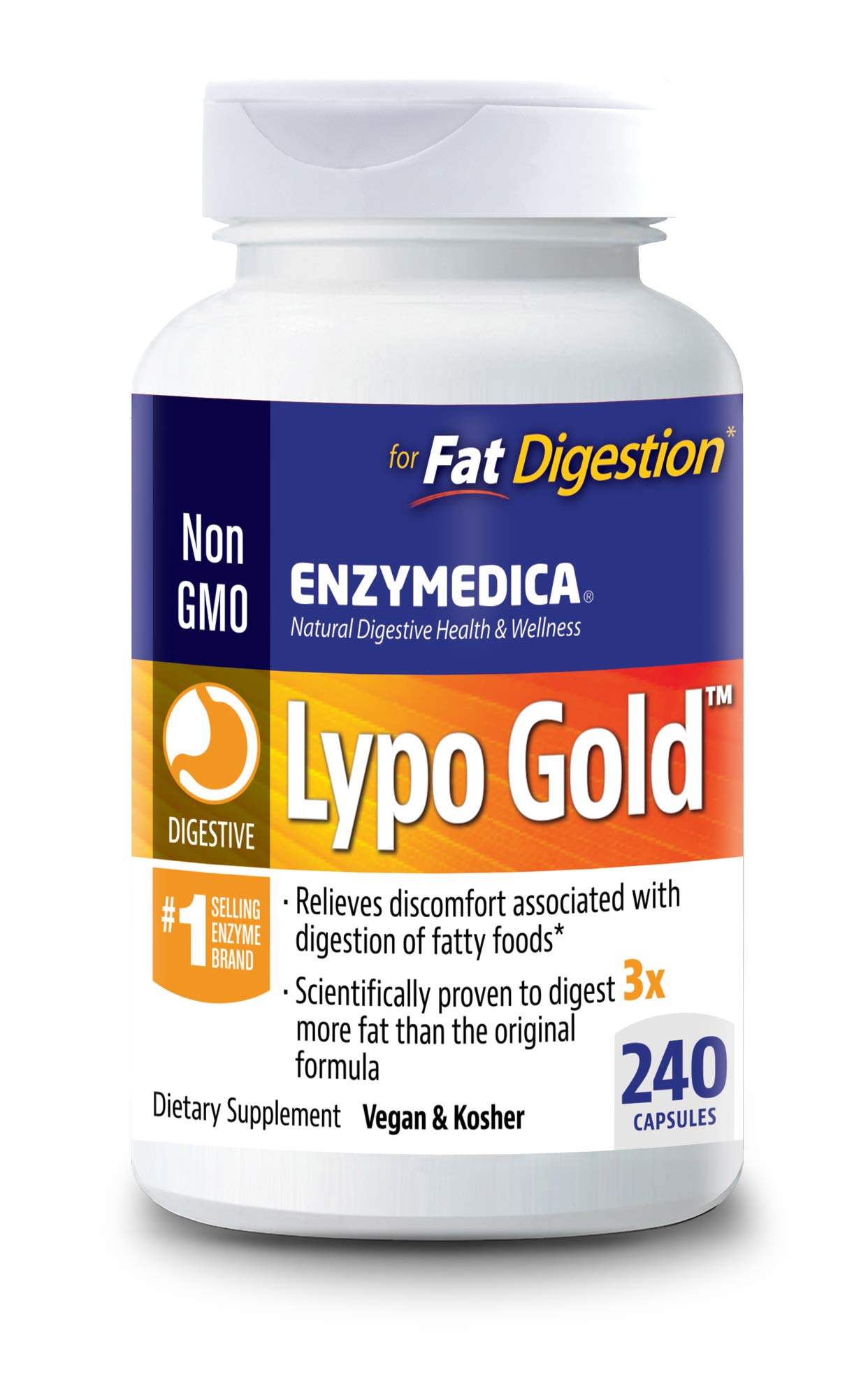 Enzymedica - Lypo Gold, Dietary Supplement to Support Fat Digestion, Vegan, Gluten Free, Non-GMO, 240 Capsules (240 Servings)