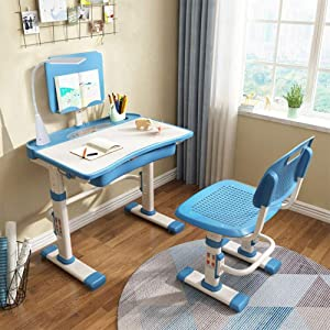 Yinleader Height Adjustable Children's Desk and Chair Set,Spacious Storage Drawer,with Adjustable Tilted Desktop, Touch Led Lamp,Kids Interactive Workstation(Blue)