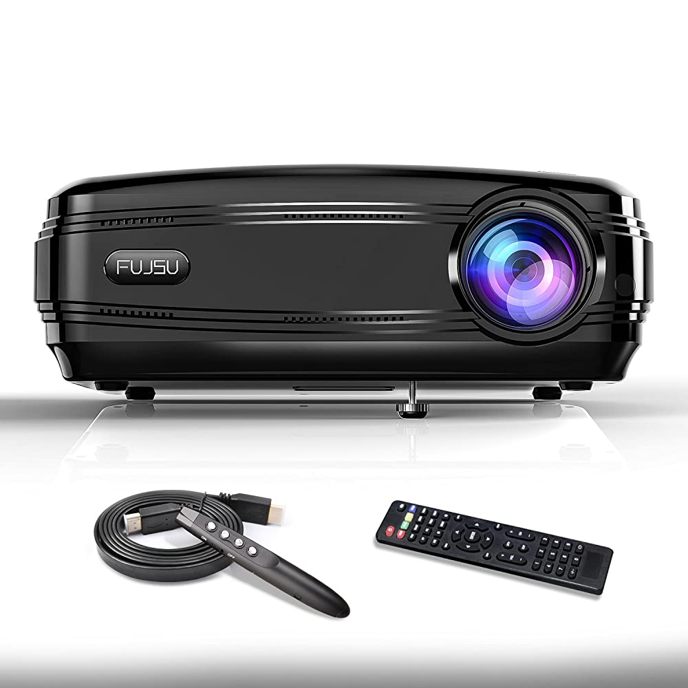 Video Projector FUJSU High Brightness Full HD 1080P LED Business Projector with Wireless PPT Pen LCD Overhead Projector for Home Theater HDMI USB VGA SD Card AV for iPhone Android Laptop TV Game