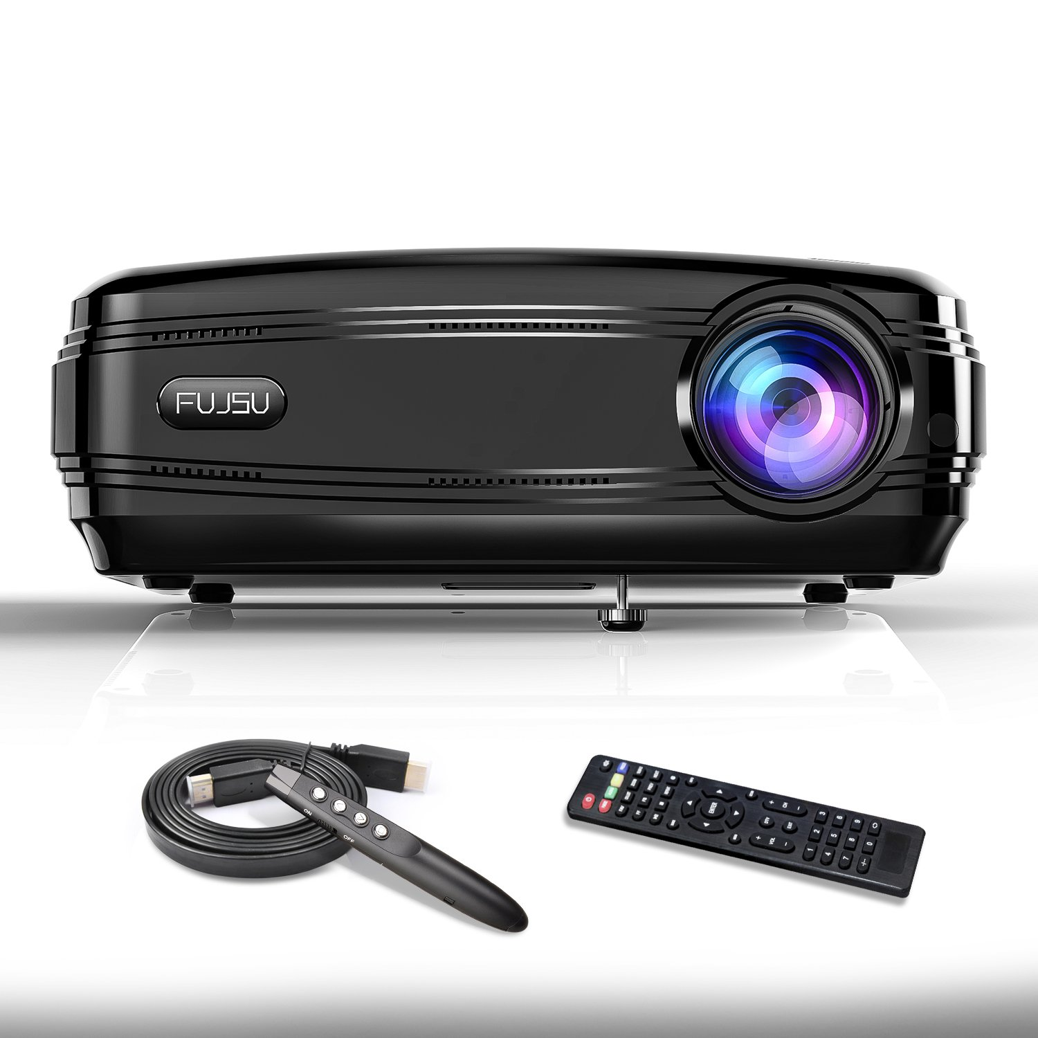 Video Projector,FUJSU 3300 Lumens Full HD 1080P LED Business Projector with Wireless PowerPoint Pen LCD Overhead Projectors for Home Theater HDMI USB VGA SD Card AV for iPhone Android Laptop TV Game