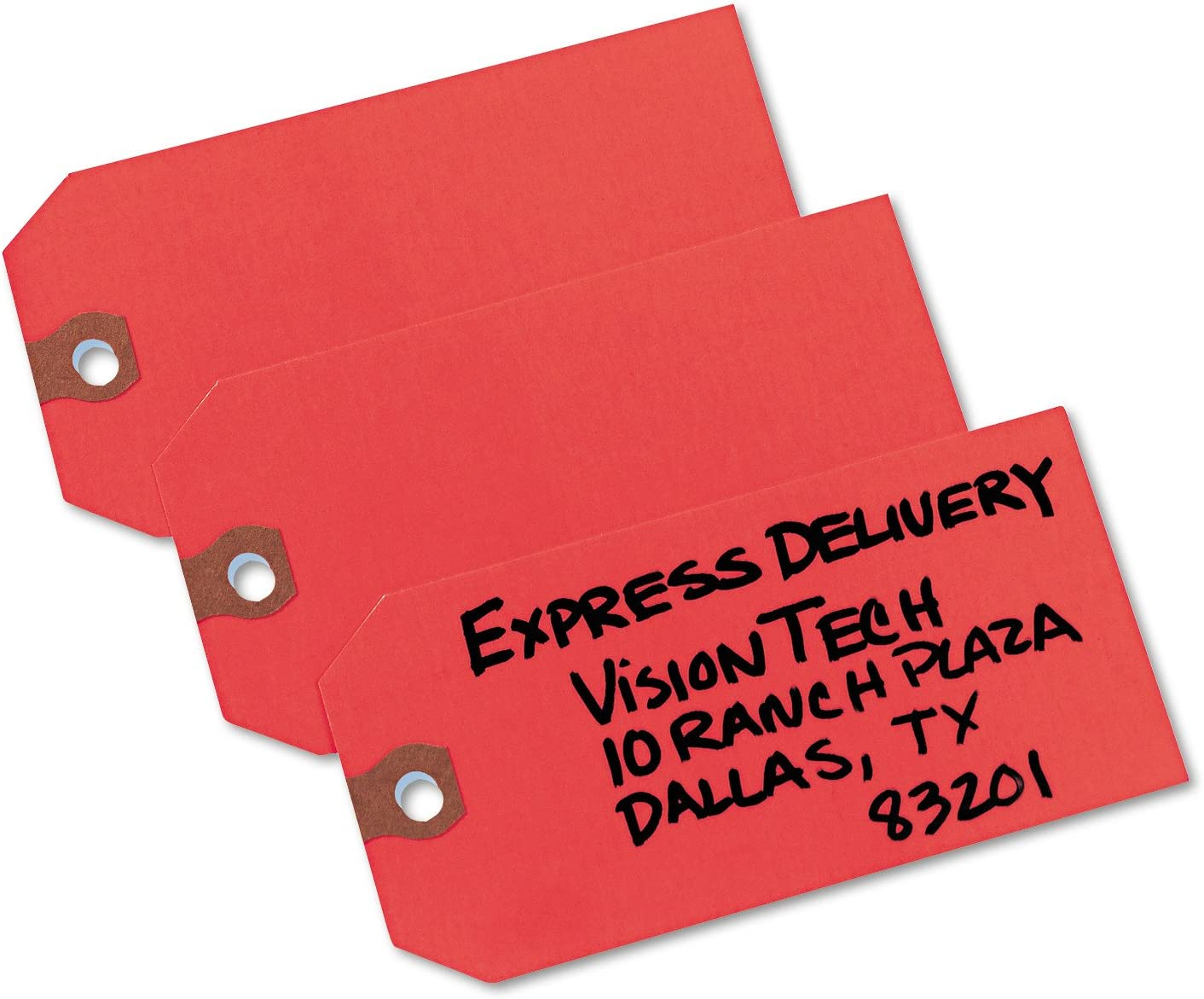 """100 Large /""""SOLD/"""" Tags Heavy Duty Paper Stock 4 3//4/"""" x 2 3//8/"""" Red and White"""