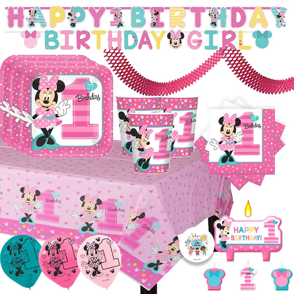 Minnie Mouse Fun To Be One Mega First Birthday Party Supplies Pack With Plates, Cups, Napkins, Tablecover, Birthday Banners, Balloons, Candles, Streamer and Exclusive Pin By Another Dream by Another Dream