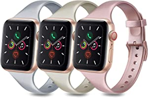 3 Pack Bands Compatible with Apple Watch Band 38mm 40mm 42mm 44mm, Slim Thin Narrow Soft Silicone Replacement Strap for iWatch Series 6 5 4 3 2 1 SE (.Rose Gold/Champagne Gold/Silver, 38mm/40mm-S/M)