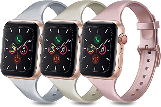 Amazon Com 3 Pack Bands Compatible With Apple Watch Band 38mm 40mm 42mm 44mm Slim Thin Narrow Soft Silicone Replacement Strap For Iwatch Series 6 5 4 3 2 1 Se Rose Gold Champagne