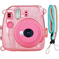SAIKA Glitter Crystal Case for Fujifilm Instax Mini 9/8/8+ Instant Film Camera with Cute Adjustable Strap - Transparent