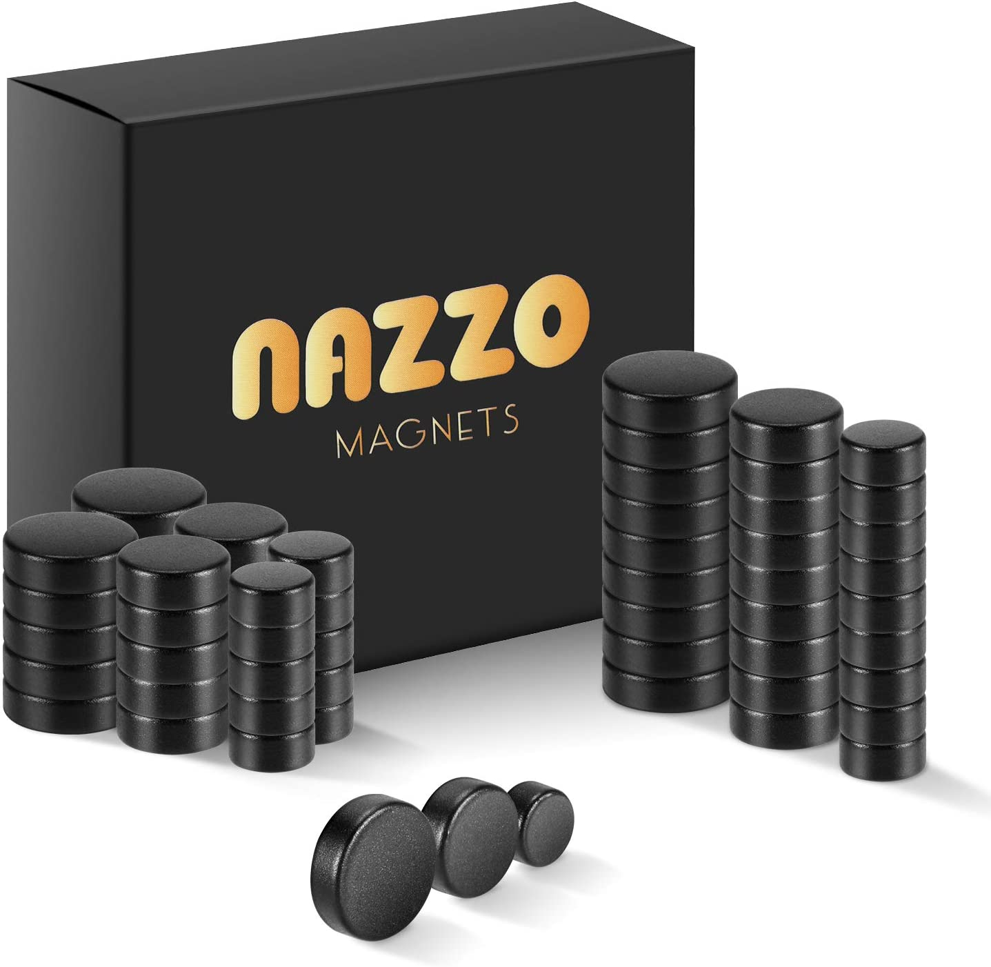 NAZZO Mini Magnets, Rare Earth Magnets, Super Strong Neodymium Magnets for Building, Science, DIY, Refrigerator and Kitchen Cabinet, Round Button Magnets, 3 Sizes 60pcs, Black