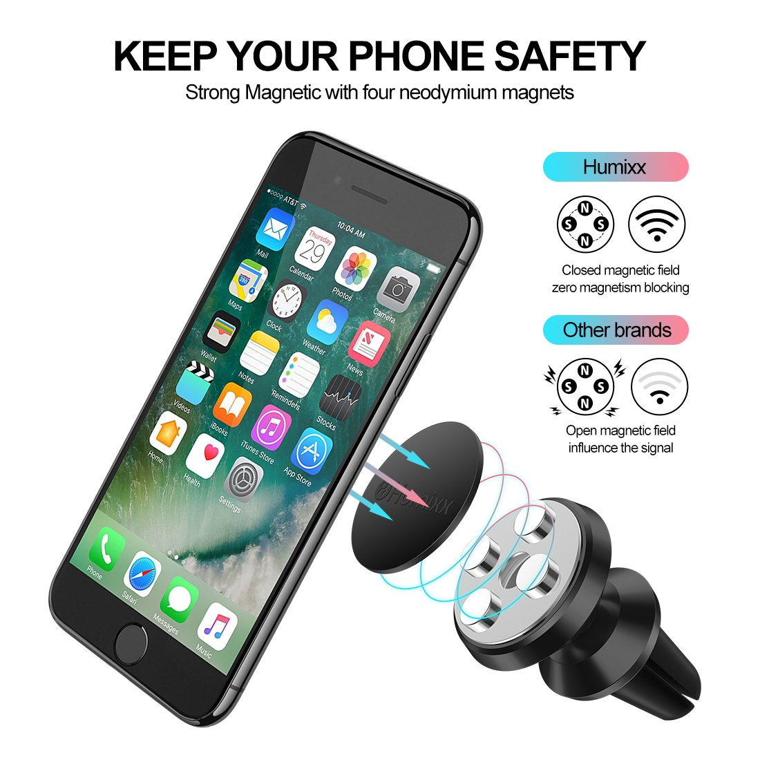 Humixx Magnetic Phone Holder for Car, 360° Adjustable Air Vent Cellphone Car Mount Holder for iPhone 8 8 Plus 7 7 Plus,Samsung S7 S8, HTC, LG, ZTE [Easy Clamping Series] (Black) by Humixx (Image #3)