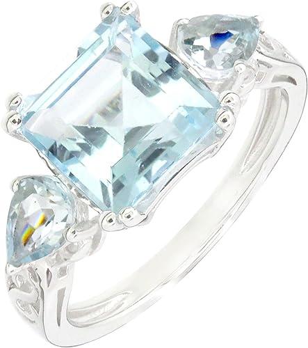 5.7 CT Art Deco Sterling Silver Square Emerald Cut Blue Topaz  Aquamarine Ring