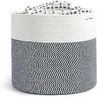 INDRESSME Extra Large Storage Basket for Blanket Bedroom Rope Laundry Basket Toy Storage Basket for Kids Navy Baby…