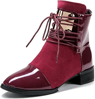 Women Vintage Ankle Boots Zip Up Punk Buckle Shoes Mid Block Heel Chunky Booties