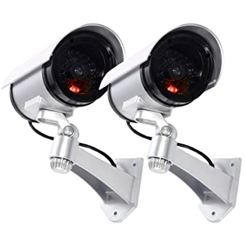 Maxesla Cámara Falsa, 2 Pieza Dummy Cámara de Seguridad Vigilancia Falsa Inalámbrico Impermeable Sistema de Vigilancia IR LED Parpadeante Fake Cámara ...