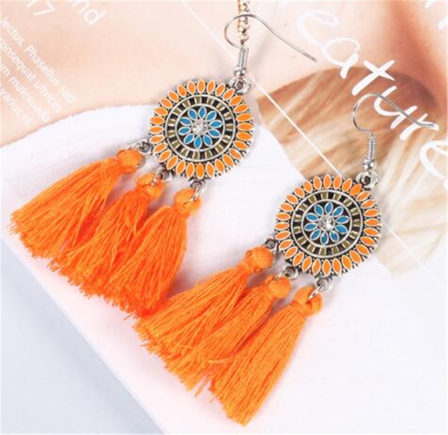 Summer New Style Vintage Oil Color Fringed Feathers Long Earring For Women Fashion Jewelry India Bohemian Ear Rings Earing orange