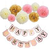 Mudder Happy Birthday Banner Tissue Paper Pom Poms Flower for Birthday Party Decorations