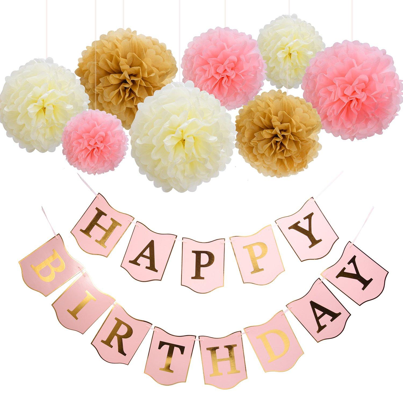 Amazon Mudder Happy Birthday Banner Tissue Paper Pom Poms