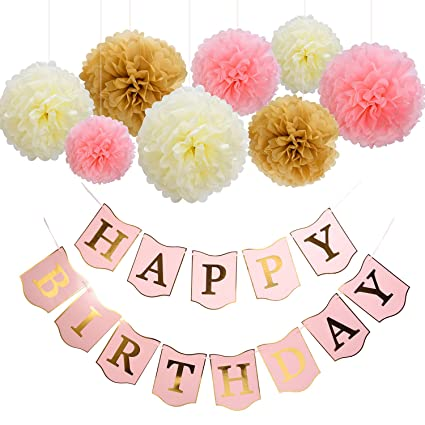 Amazoncom Mudder Happy Birthday Banner Tissue Paper Pom Poms