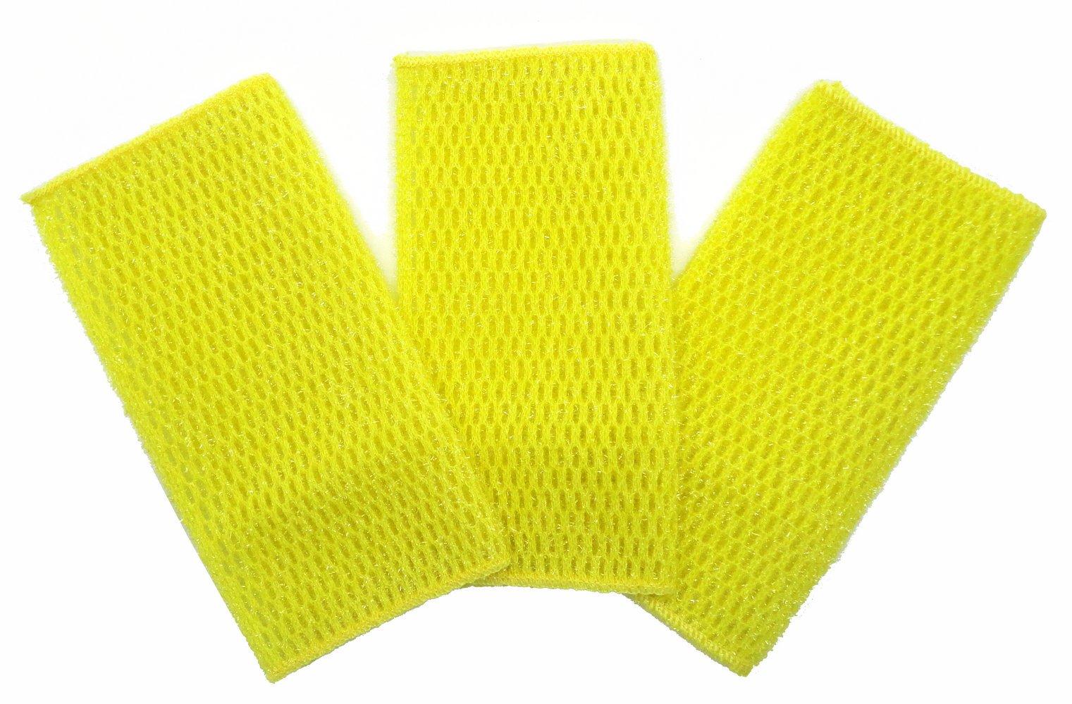 KLEIESH Dish Cloth for All Purpose Dish Washing 3 Pack (7''x9'', Yellow)