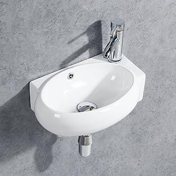 Lavandino Piccolo Per Bagno.Gimify Mini Lavandino Da Parete Piccolo Lavello Per Bagno Con Bacinella Ovale 420 280 145mm