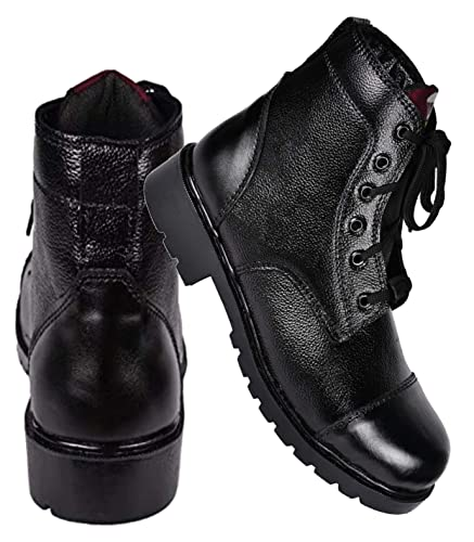 Para commando Mens Black Genuine Leather Army Military Safety Boot Shoes  with Steel Toe  Buy Online at Low Prices in India - Amazon.in 21af9c808