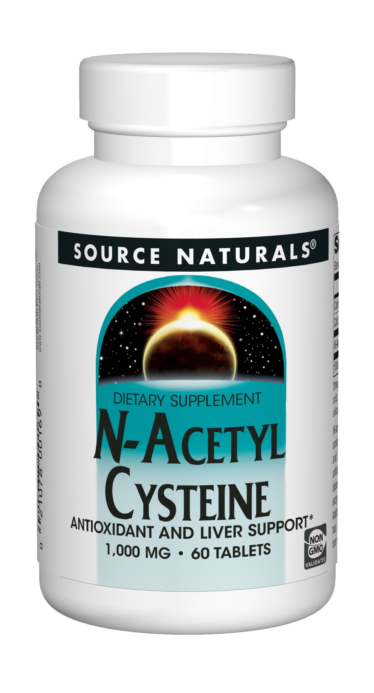 Source Naturals N-Acetyl Cysteine 1000mg Antioxidant - Pure Enzymes - 60 Tablets
