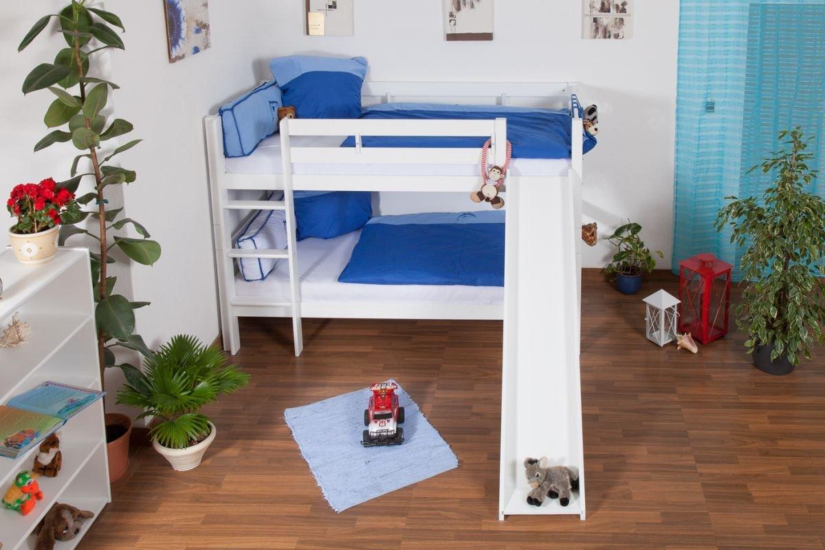 Etagenbett Moritz Mit Rutsche : Kinderbett etagenbett moritz buche vollholz massiv weiß lackiert