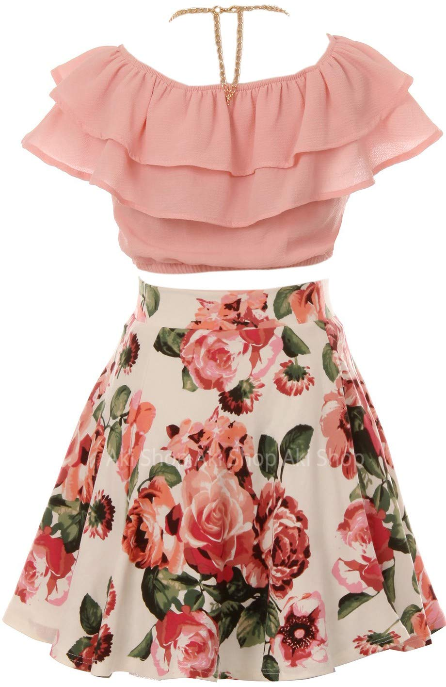 Cold Shoulder Crop Top Ruffle Layered Top Flower Girl Skirt Sets for Big Girl Blush 10 JKS 2130S by Aki_Dress (Image #3)