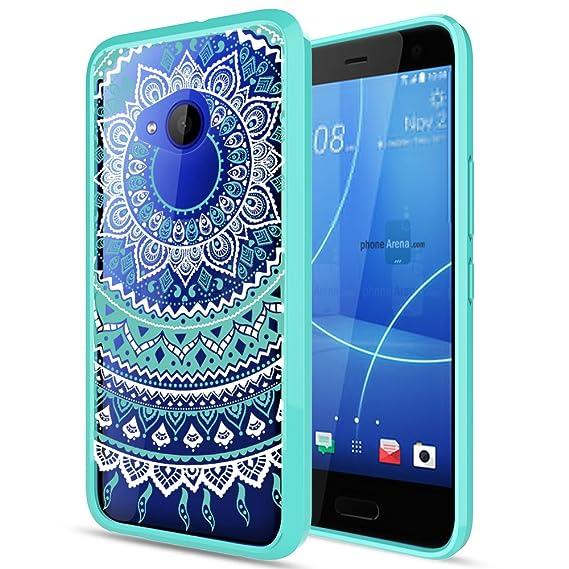 Htc U11 Life Phone Case Clear With Hd Screen Protector Anoke Glitter Mandala Flower Cute Ultra Thin Slim Fit Pc Back Tpu Bumper Protective Cover Cases