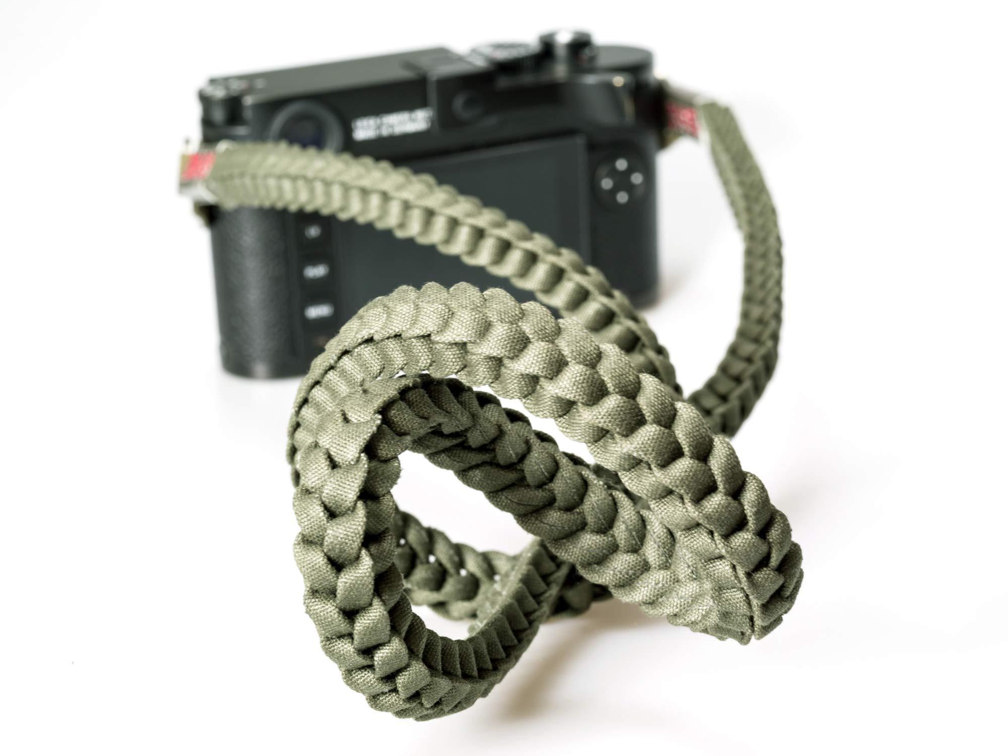 Barton 1972 Designer Braided Muddy Green Military Camera Neck Strap Lint Free Cotton 42'' Long w/Carry Bag Leica Sony Fuji Olympus Nikon