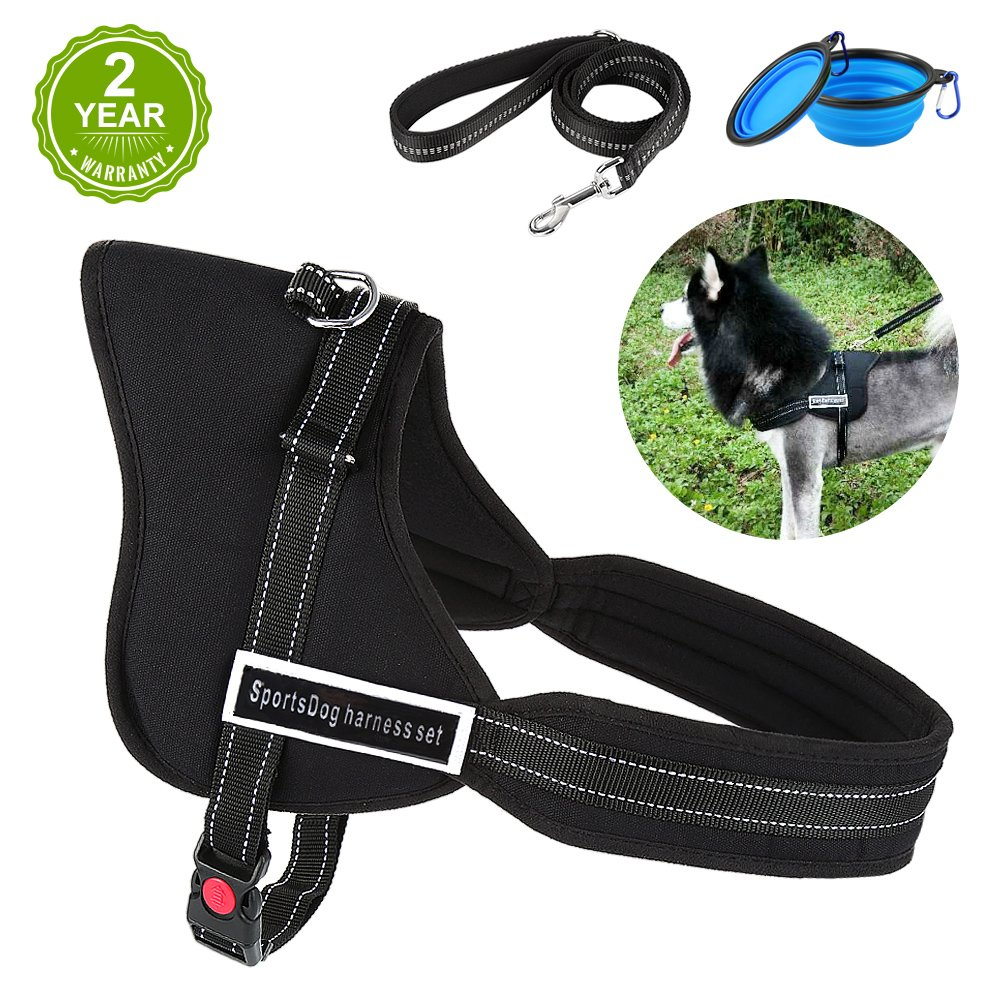 Dog Harness, HonFei No Pull Dog Harness with Reflective Pet Leash, Comfortable Pet Harness with 2 Gift Bowls, Control Handle Vest for Training Dogs and Stainless Steel D-Buckle for Walking Running (L)