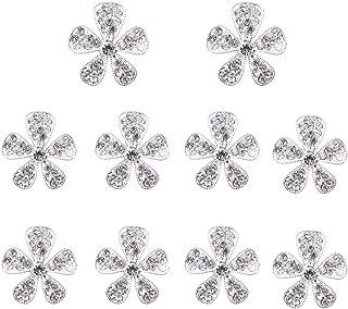 Nicedeal 10pz bottoni strass fiore color argento abbellimenti decorazione abbigliamento e artigianato fai da te cancelleria per ufficio, strumenti di tessitura Art bricolage, tessile, decorazioni