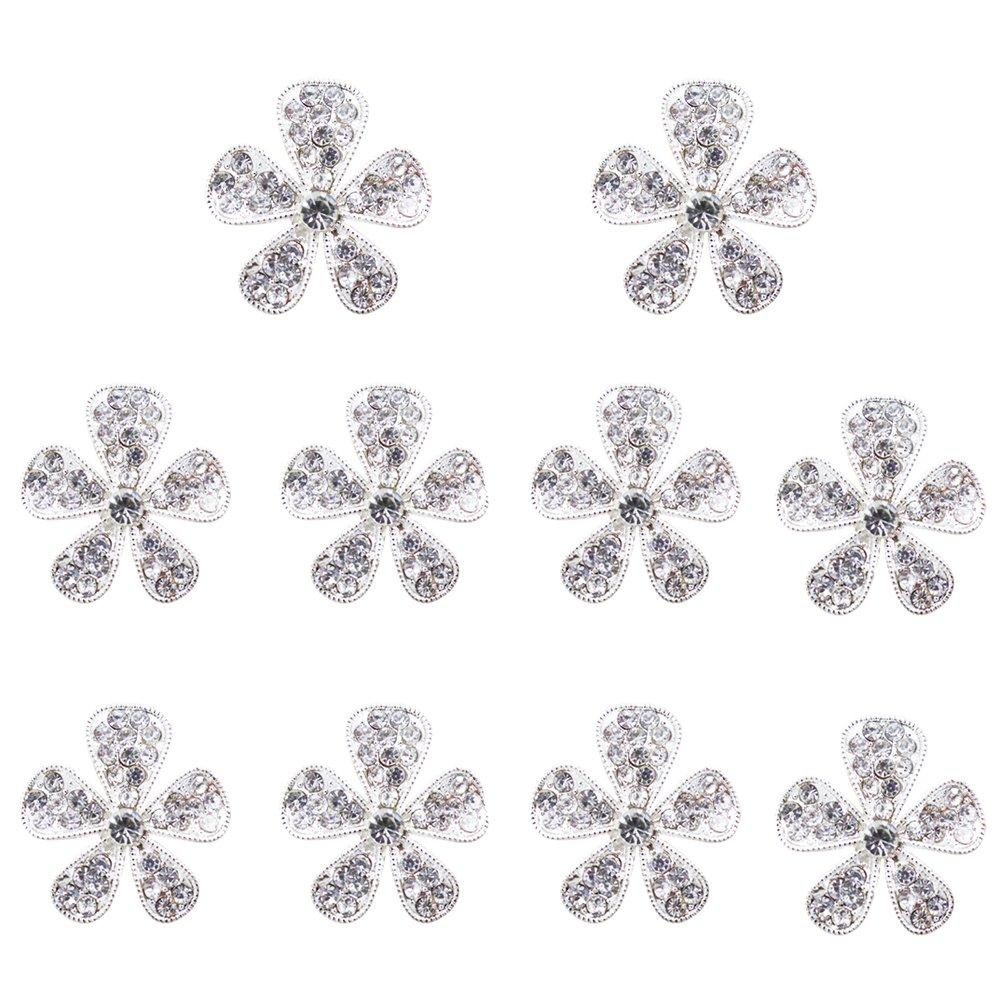 Nicedeal 10 pz bottoni strass fiore color argento abbellimenti decorazione abbigliamento e artigianato fai da te cancelleria per ufficio, strumenti di tessitura Art bricolage, tessile, decorazioni