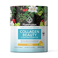 PlantFusion Collagen Clear Skin Hydrator | Complete Plant Peptides | Vegan Collagen Powder Supplement | for Smooth Luminous, Nourished Skin | Citrus 6.35 Ounce