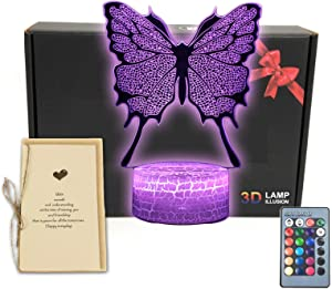 Butterfly 3D Illusion LED Table Lamp Room Decor Night Light with Greeting Card,16 Colors Change, Smart Touch Button & Remote Control Bedroom Decorations for Girls, Men, Women, Kids, Boys, Teens