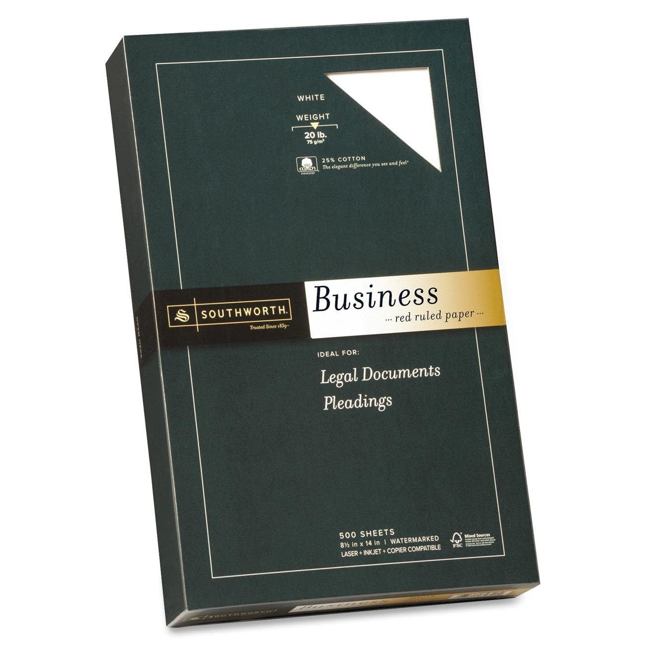 Southworth Business Paper,20 lb,Red Ruled,8-1/2''x14'',500/BX,WE (SOU403ER) by Southworth
