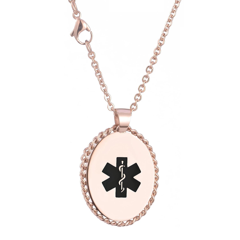 Ovalada de acero inoxidable Medical ID collar para las mujeres con grabado gratis Tarring