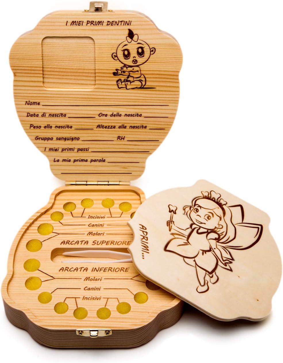 ideal como regalo de bautizo o beb/é juegos para ni/ños Caja de dientes de leche italiano para regalo de ni/ña de 1 a/ño caja para fotos MAPAPY/È