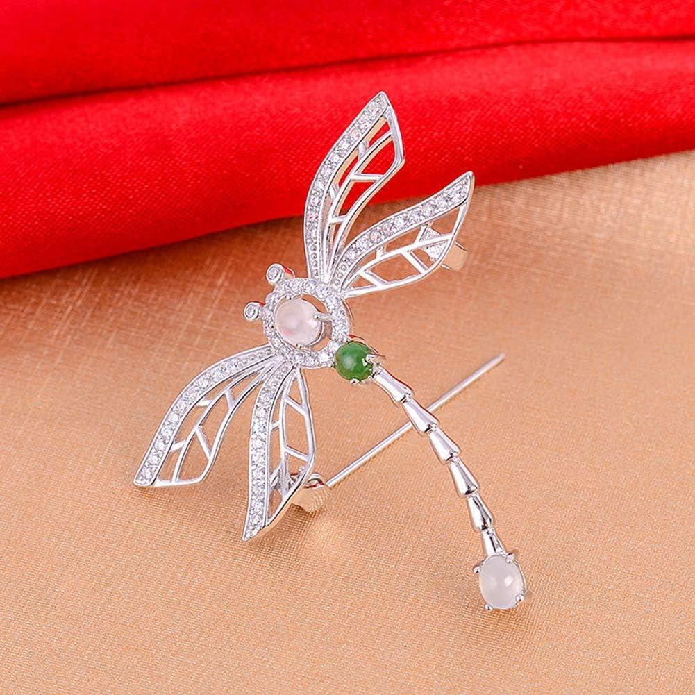 LY Natur Jade Libelle Brosche s925 Silber Inlay Geschenk f/ür Frauen