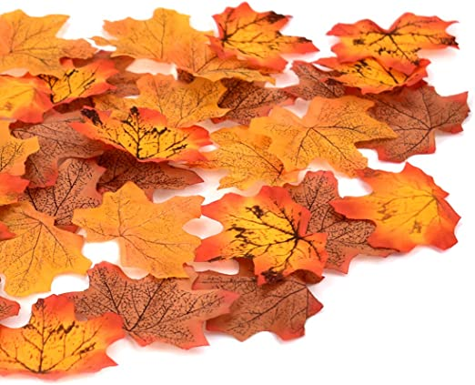 100x Fake Silk Leaves Autumn Fall Maple Leaf Home Patio Photography Decor Props