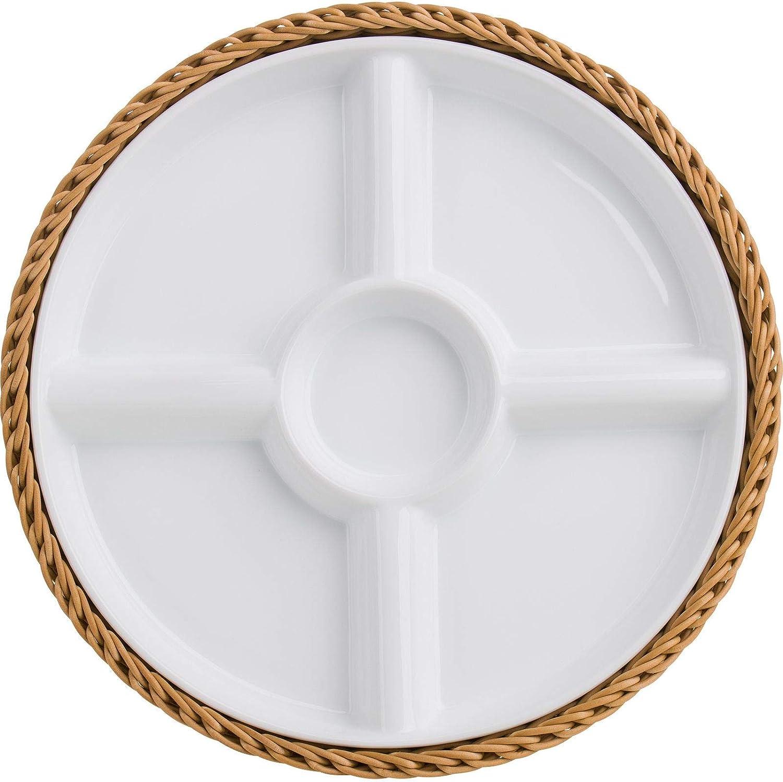 WESTMARK Saleen Tischkorb rund mit Porzellanschale 5 Fächer ø 28,5xH4,5 cm beige