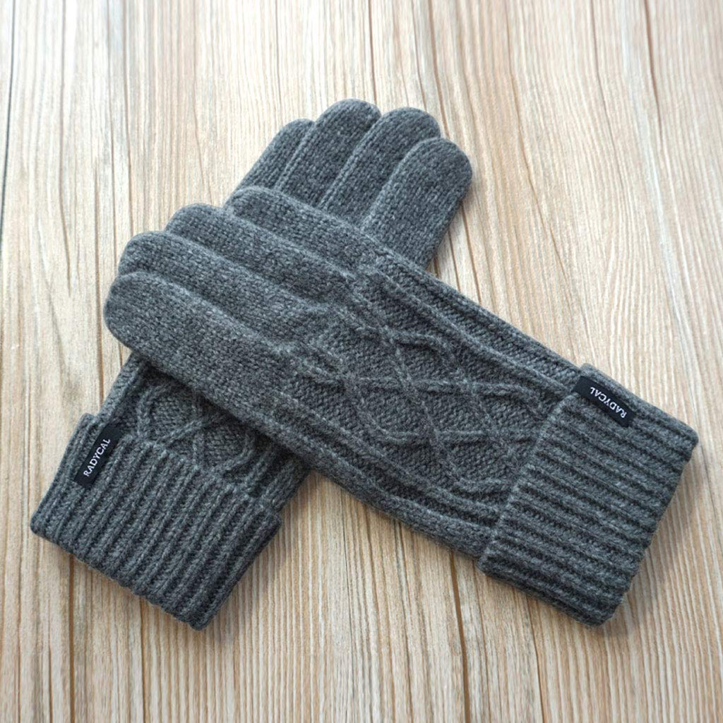 Color : Brown MXD Gloves Autumn and Winter Mens Knit Open Finger Touch Screen Thickening Driving Warm Gloves
