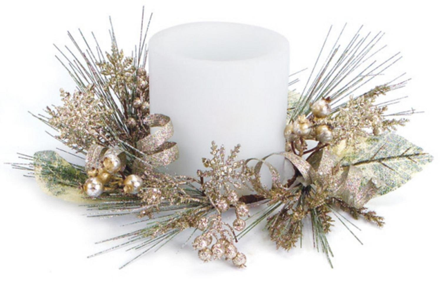 Christmas Gold Artificial Pine Snowflakes Ribbon Candle Rings Set of 4