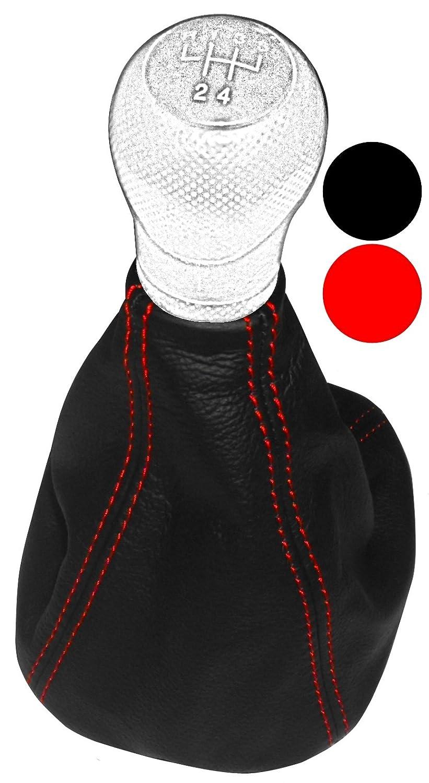 Aerzetix - Cuffia leva cambio di 100% vera pelle nera con cuciture rosso . NIK-LEON1-MSK-REDST