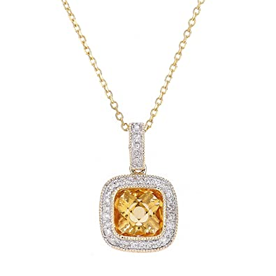 Naava Women's 9 ct White Gold Diamond and Citrine Pendant Necklace d3DnDbVS